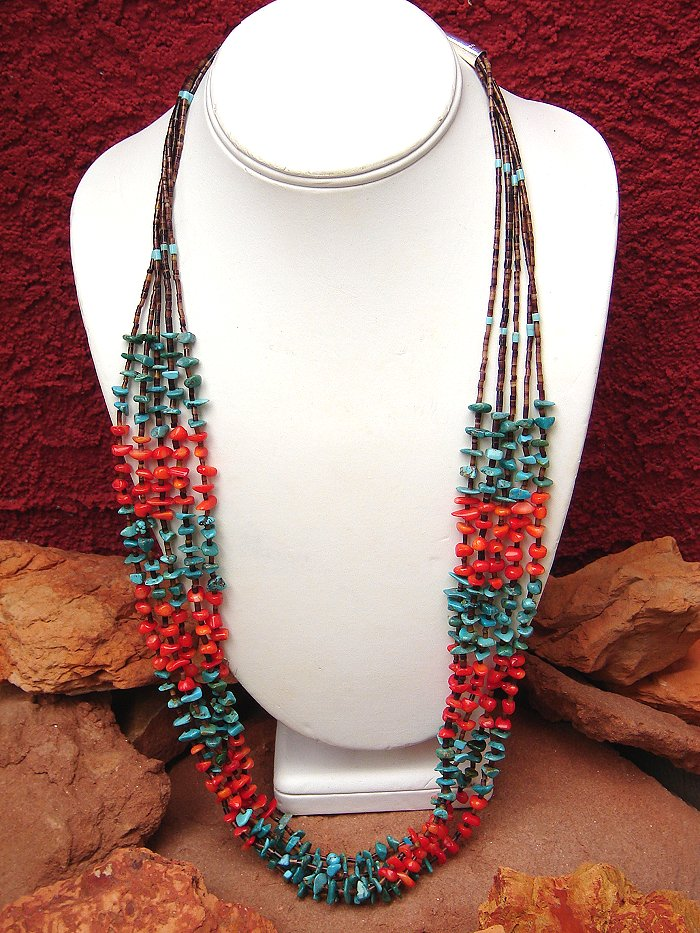 Coral, Turquoise, & Heishi Necklace