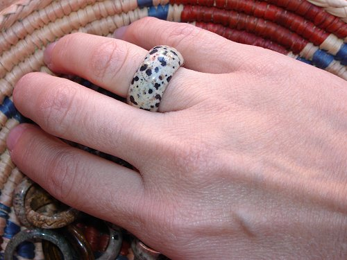 dalmation jasper band ring